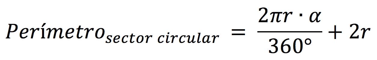Fórmula para calcular el perímetro de un sector circular