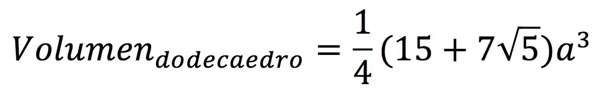 Fórmula del volumen de un dodecaedro