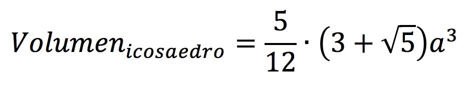 Fórmula para calcular el volumen de un icosaedro