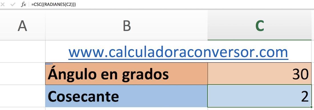 Calcular cosecante en Excel