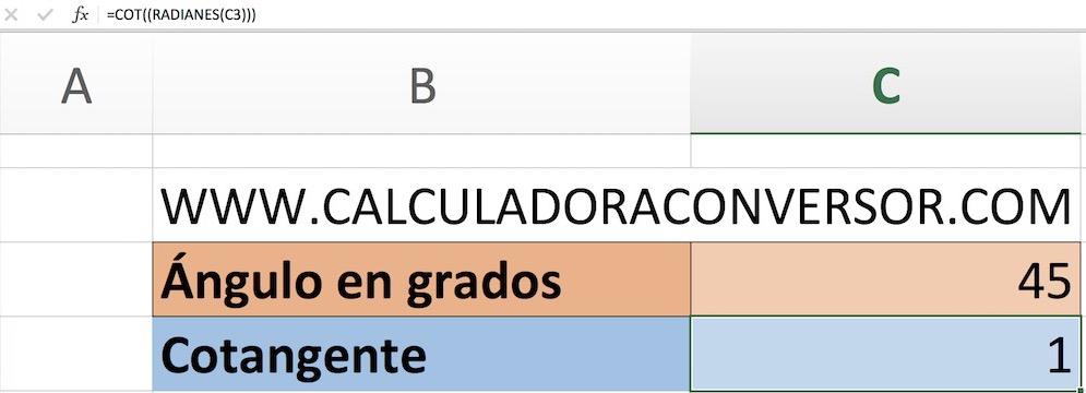 Calcular cotangente en Excel