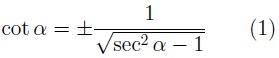 Cotangente en función de la secante