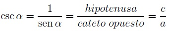 Fórmula cosecante
