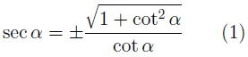 Secante en función de la cotangente
