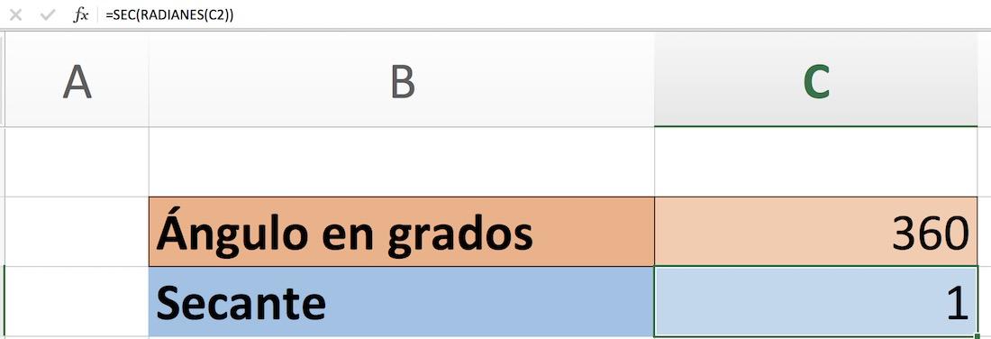 Calcular secante en Excel