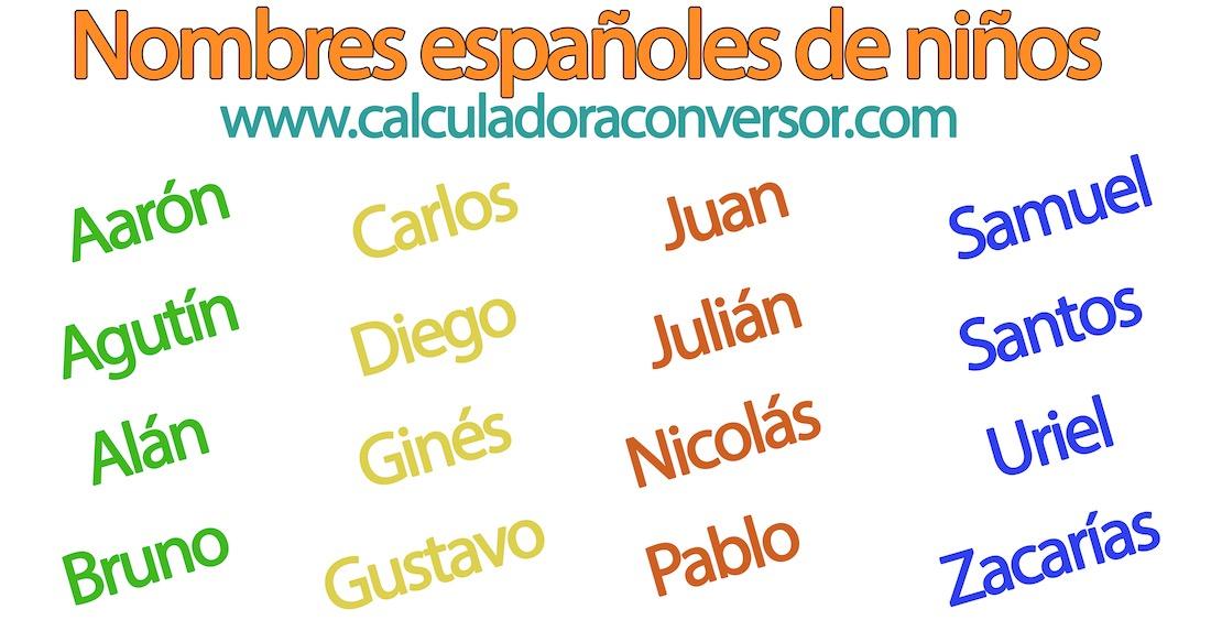 Nombres españoles de niños